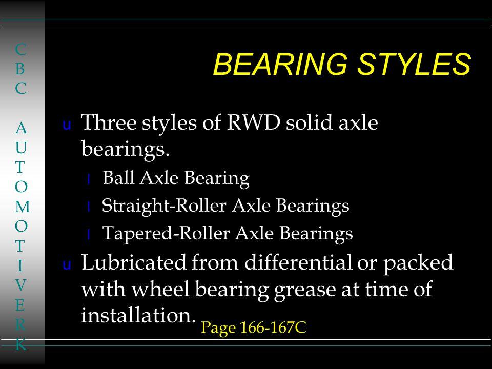 RWD AXLE BEARINGS u Chapter 7 u Page 164 l Classroom Manual u Page