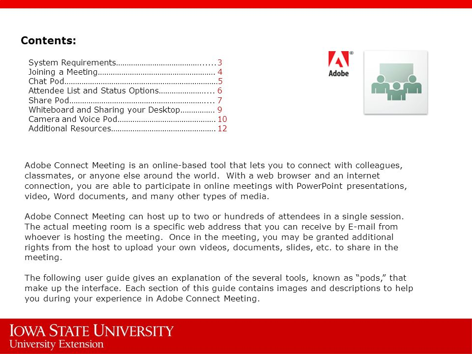 adobe connect user guide adobe connect meeting is an online based rh slideplayer com Adobe Connect Webinar Adobe Connect Logo