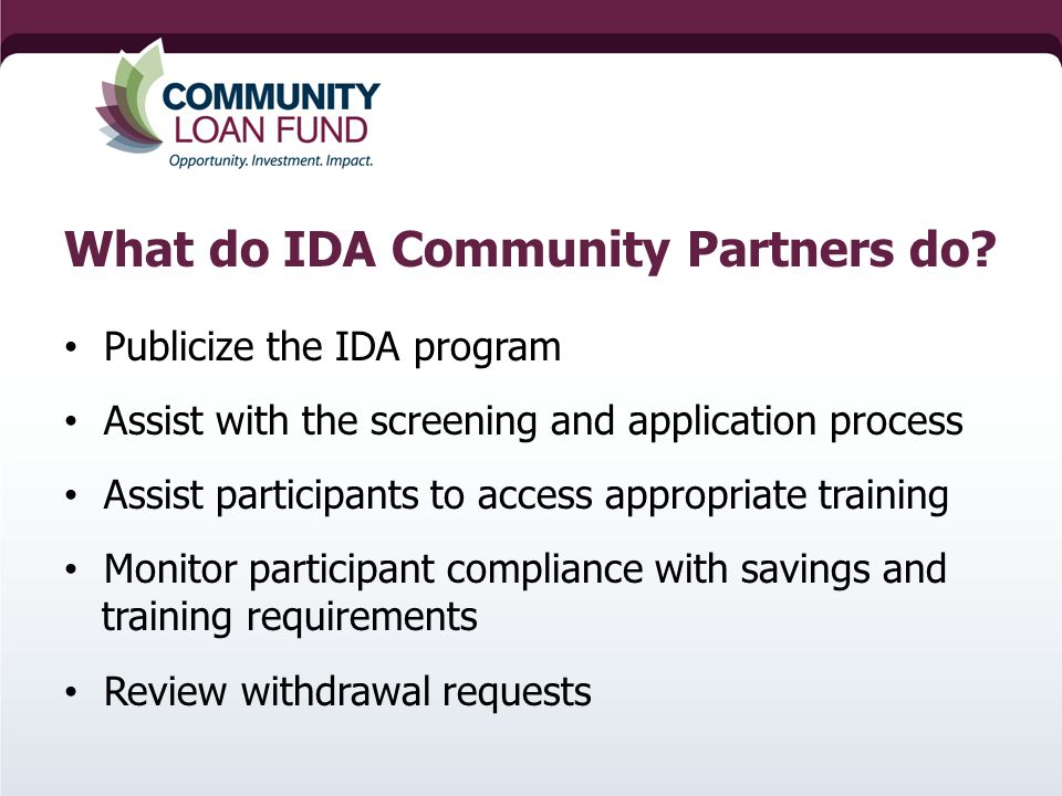 What do IDA Community Partners do.
