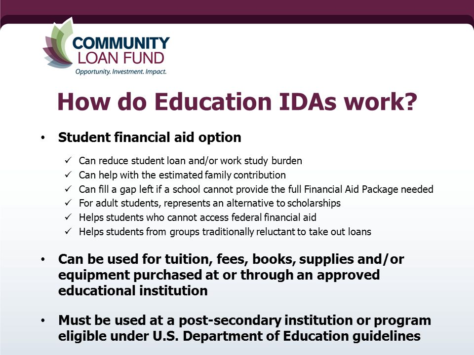 How do Education IDAs work.