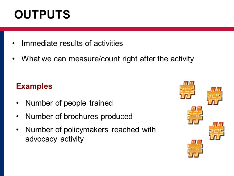 OUTPUTS Immediate results of activities What we can measure/count right after the activity Examples Number of people trained Number of brochures produced Number of policymakers reached with advocacy activity