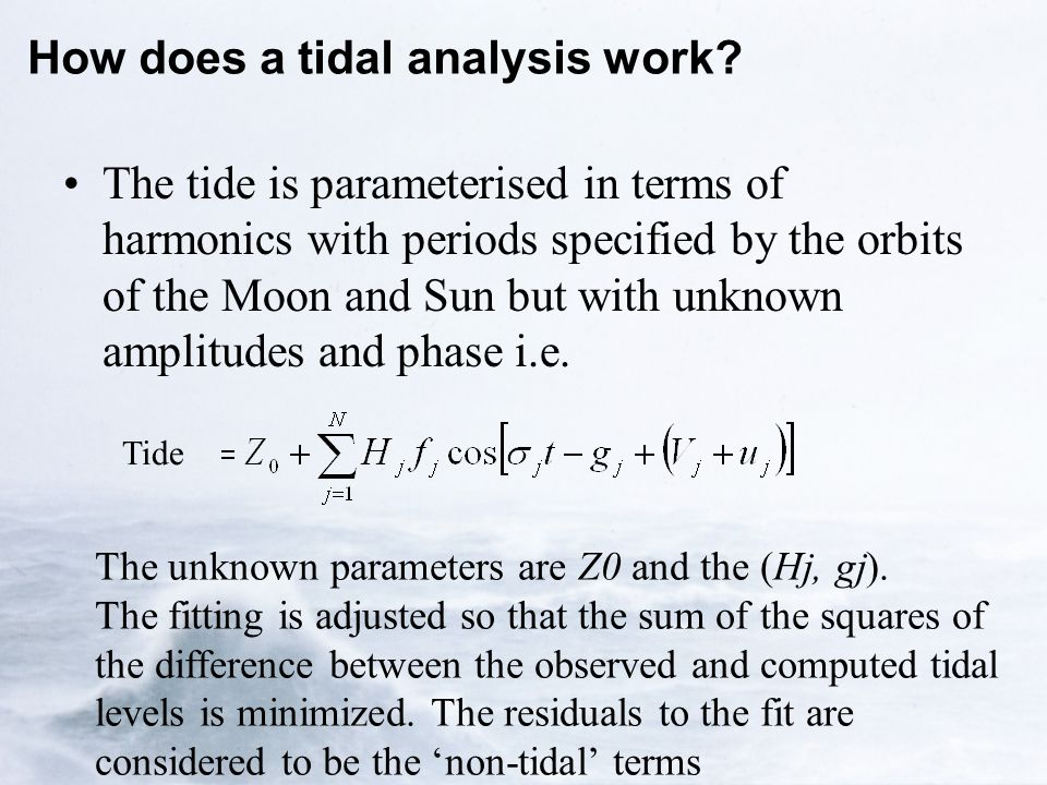 How does a tidal analysis work.
