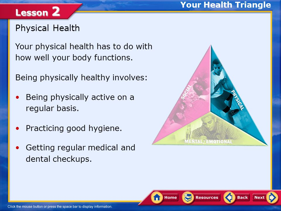 Lesson 2 Elements of the Health Triangle The three elements of health— physical, mental/emotional, and social—are interconnected, like the sides of a triangle.