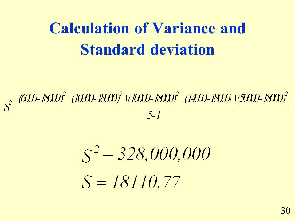 Calculation of Variance and Standard deviation 30