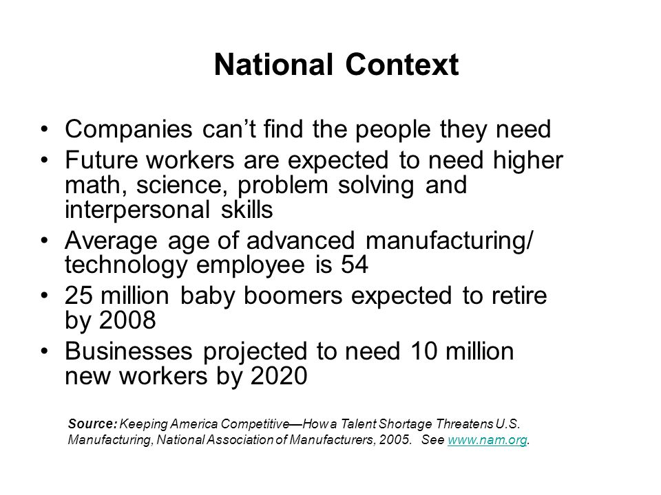 National Context Companies can't find the people they need Future workers are expected to need higher math, science, problem solving and interpersonal skills Average age of advanced manufacturing/ technology employee is million baby boomers expected to retire by 2008 Businesses projected to need 10 million new workers by 2020 Source: Keeping America Competitive—How a Talent Shortage Threatens U.S.