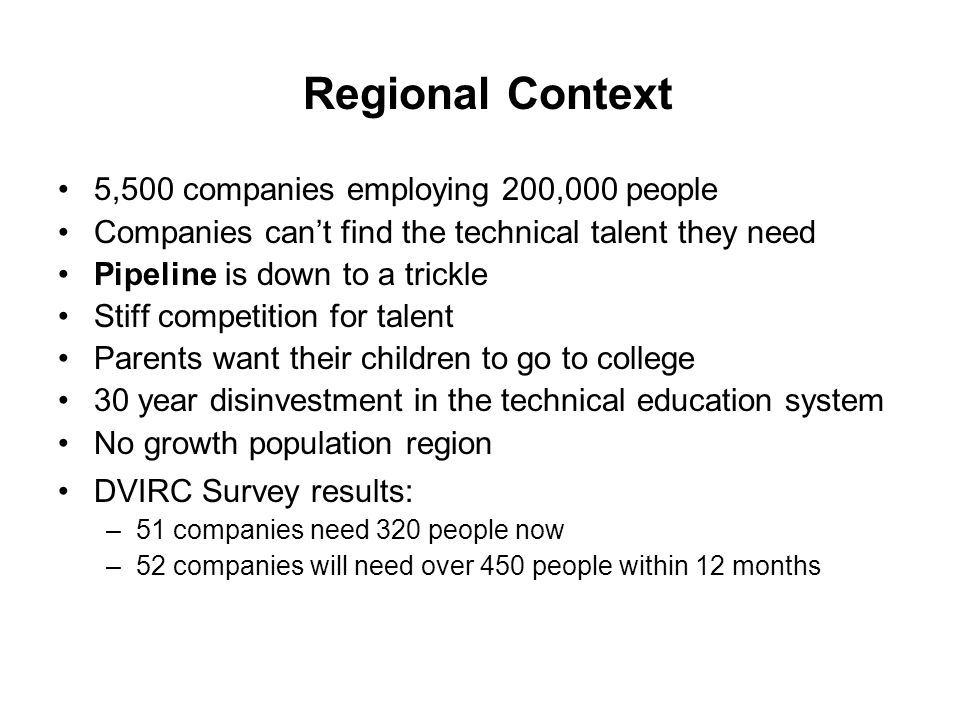 Regional Context 5,500 companies employing 200,000 people Companies can't find the technical talent they need Pipeline is down to a trickle Stiff competition for talent Parents want their children to go to college 30 year disinvestment in the technical education system No growth population region DVIRC Survey results: –51 companies need 320 people now –52 companies will need over 450 people within 12 months