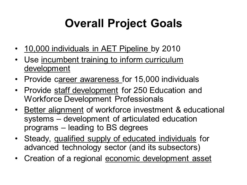 Overall Project Goals 10,000 individuals in AET Pipeline by 2010 Use incumbent training to inform curriculum development Provide career awareness for 15,000 individuals Provide staff development for 250 Education and Workforce Development Professionals Better alignment of workforce investment & educational systems – development of articulated education programs – leading to BS degrees Steady, qualified supply of educated individuals for advanced technology sector (and its subsectors) Creation of a regional economic development asset