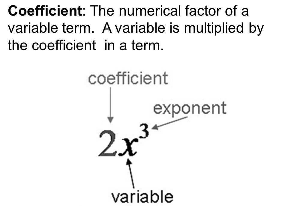 Coefficient: The numerical factor of a variable term.