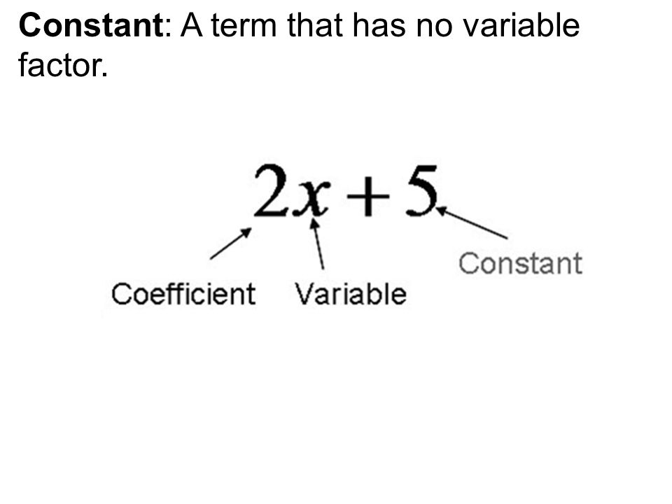 Constant: A term that has no variable factor.