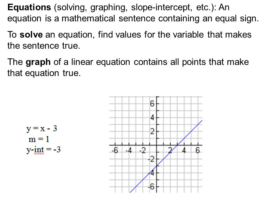 Equations (solving, graphing, slope-intercept, etc.): An equation is a mathematical sentence containing an equal sign.