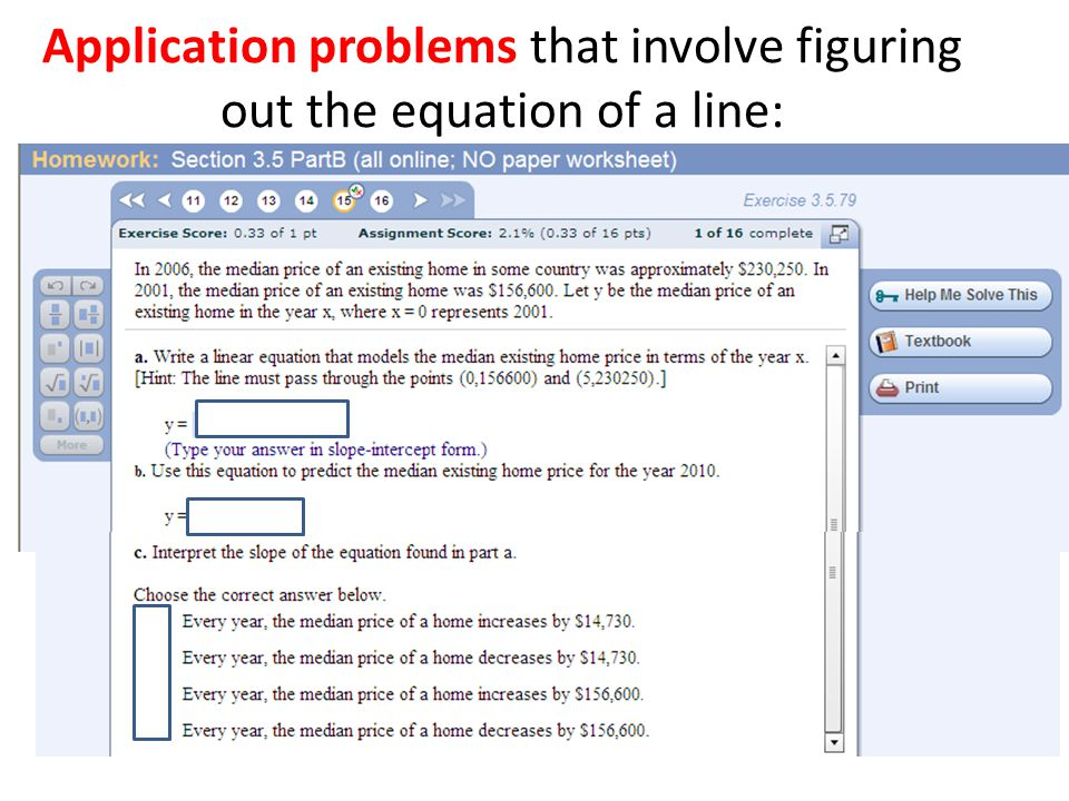 Application problems that involve figuring out the equation of a line: