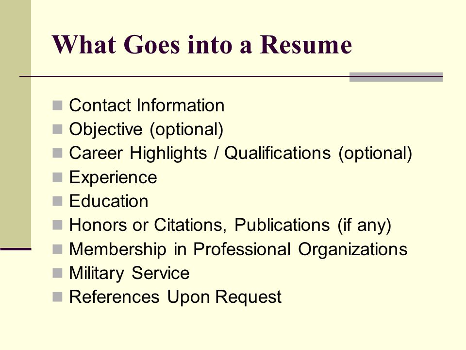4 What Goes Into A Resume Contact Information Objective Optional Career Highlights Qualifications Experience Education Honors Or Citations