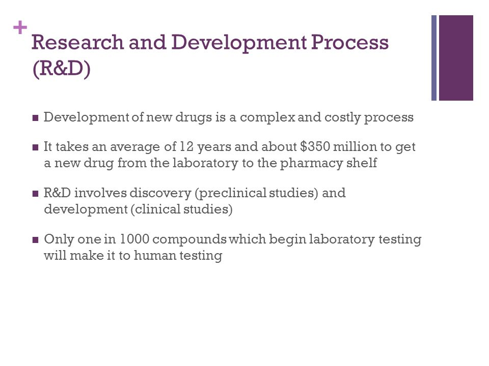 + Research and Development Process (R&D) Development of new drugs is a complex and costly process It takes an average of 12 years and about $350 million to get a new drug from the laboratory to the pharmacy shelf R&D involves discovery (preclinical studies) and development (clinical studies) Only one in 1000 compounds which begin laboratory testing will make it to human testing