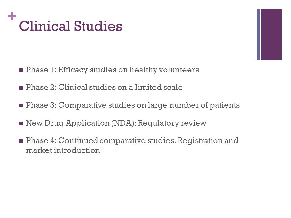 + Clinical Studies Phase 1: Efficacy studies on healthy volunteers Phase 2: Clinical studies on a limited scale Phase 3: Comparative studies on large number of patients New Drug Application (NDA): Regulatory review Phase 4: Continued comparative studies.