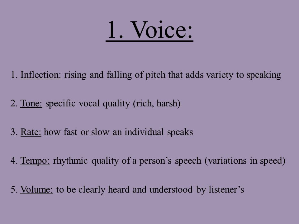 1. Voice: 1. Inflection: rising and falling of pitch that adds variety to speaking 2.