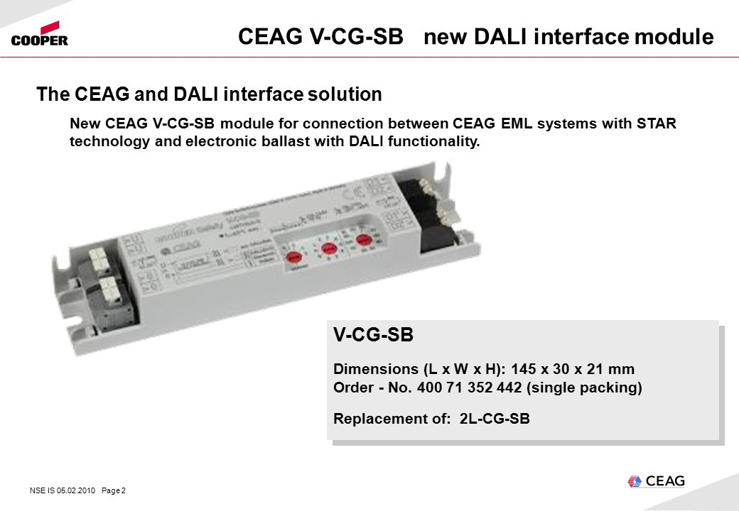 NSE IS Page 1 CEAG V-CG-SB new DALI interface module Lighting ...