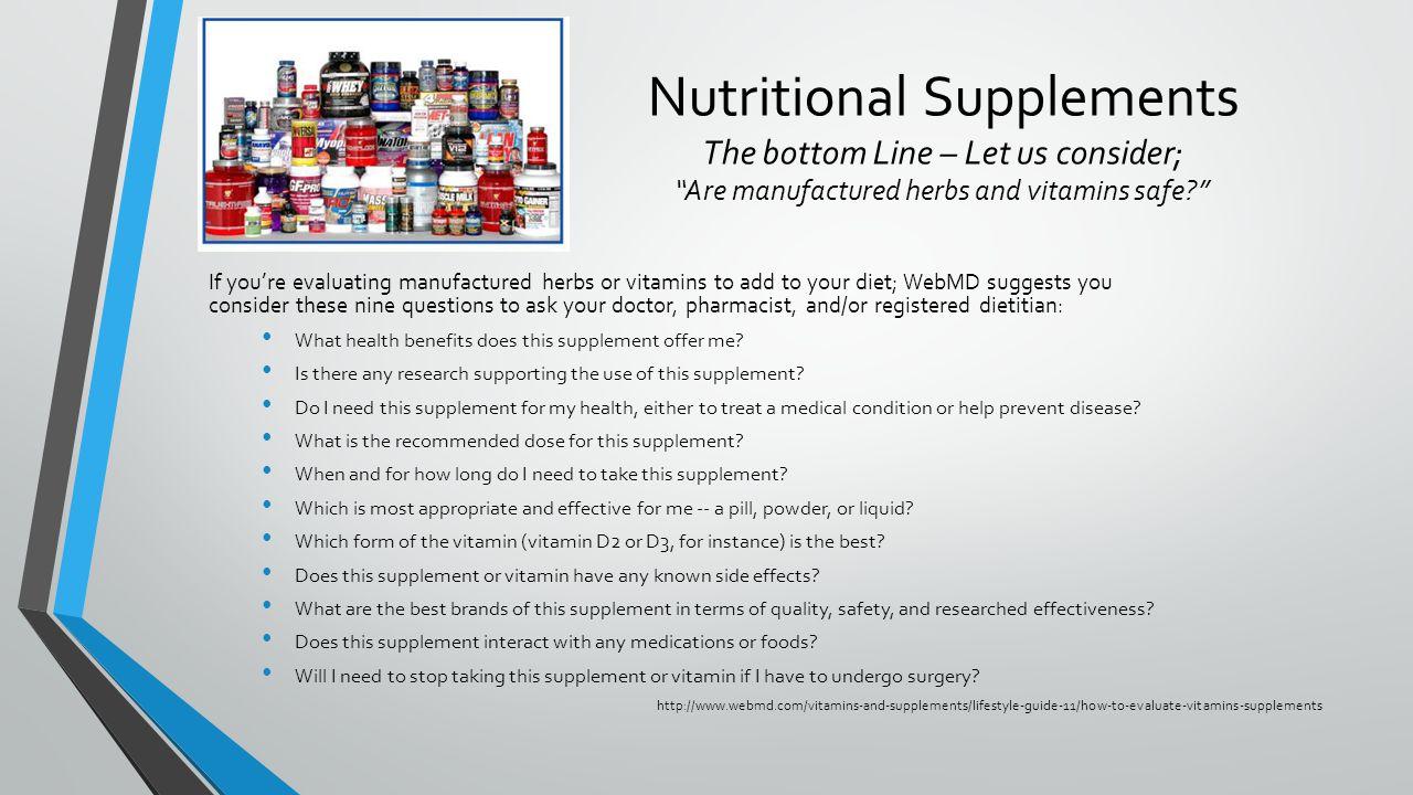 Vitamins, herbs & nutritional supplements  Unit 4 HW499 Matthew