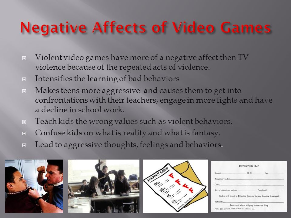violent video games cause behavior problems Violent video games cause violent behavior of course, simulated violence in video games can contribute to real violence many studies have shown that children who play violent video games think about violence more and have fantasies about hurting people.