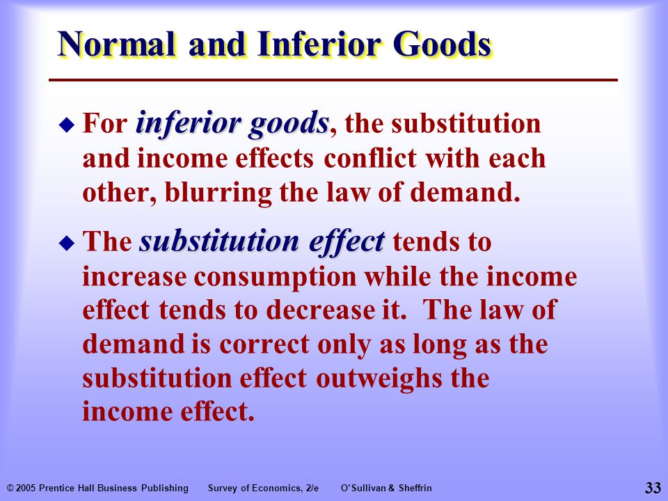 33 © 2005 Prentice Hall Business PublishingSurvey of Economics, 2/eO'Sullivan & Sheffrin Normal and Inferior Goods inferior goods  For inferior goods, the substitution and income effects conflict with each other, blurring the law of demand.