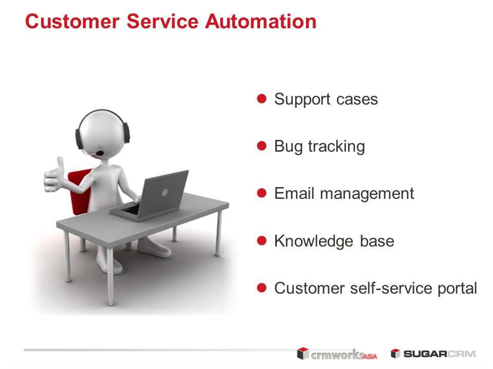 Customer Service Automation Support cases Bug tracking  management Knowledge base Customer self-service portal