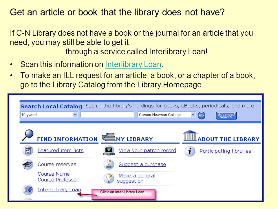 Get an article or book that the library does not have.