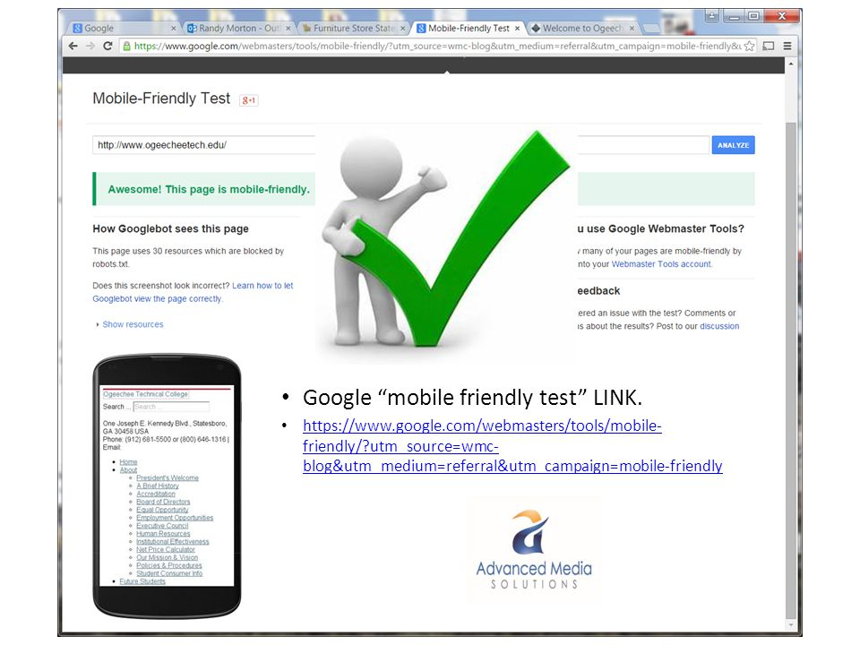 Google mobile friendly test LINK.