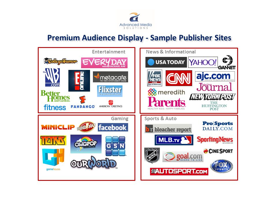 Premium Audience Display - Sample Publisher Sites News & Informational Entertainment Sports & AutoGaming