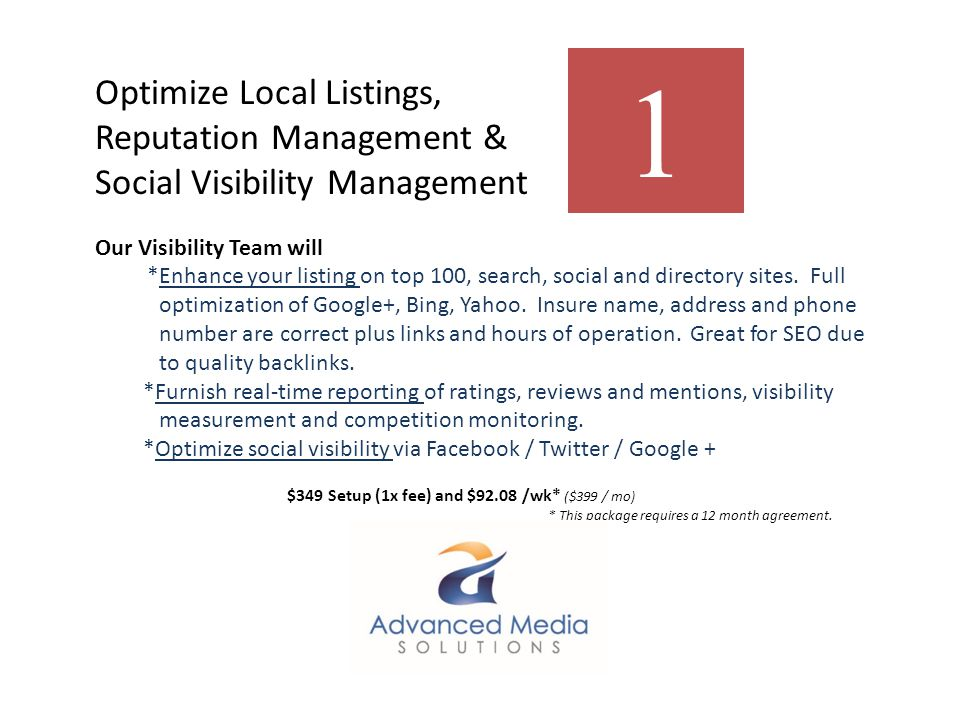 Optimize Local Listings, Reputation Management & Social Visibility Management Our Visibility Team will *Enhance your listing on top 100, search, social and directory sites.