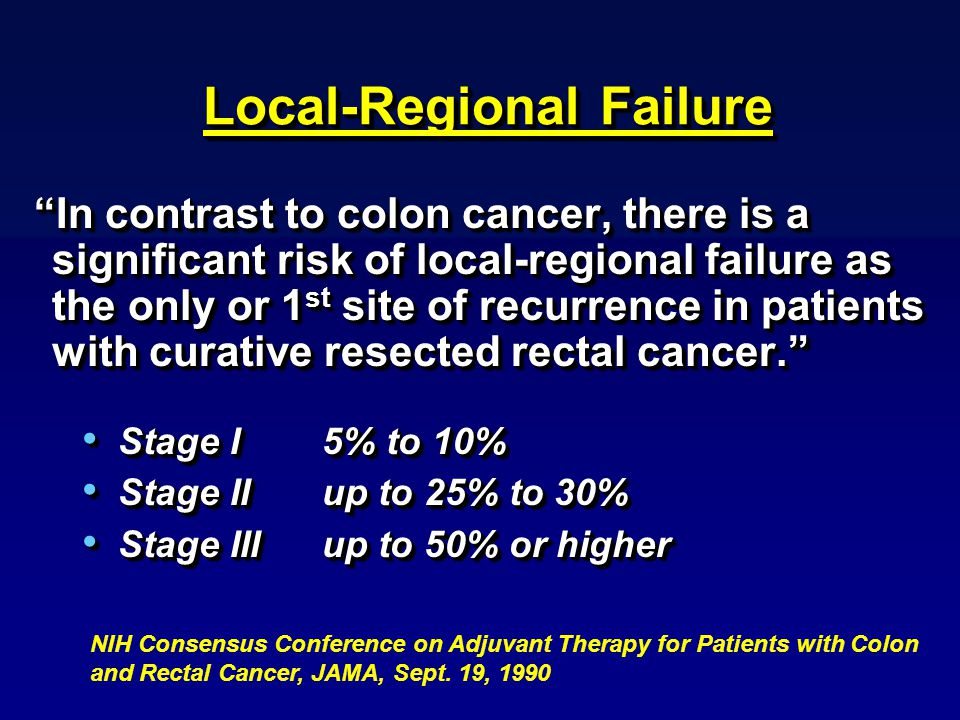 Local-Regional Failure In contrast to colon cancer, there is a significant risk of local-regional failure as the only or 1 st site of recurrence in patients with curative resected rectal cancer. Stage I 5% to 10% Stage I 5% to 10% Stage IIup to 25% to 30% Stage IIup to 25% to 30% Stage IIIup to 50% or higher Stage IIIup to 50% or higher In contrast to colon cancer, there is a significant risk of local-regional failure as the only or 1 st site of recurrence in patients with curative resected rectal cancer. Stage I 5% to 10% Stage I 5% to 10% Stage IIup to 25% to 30% Stage IIup to 25% to 30% Stage IIIup to 50% or higher Stage IIIup to 50% or higher NIH Consensus Conference on Adjuvant Therapy for Patients with Colon and Rectal Cancer, JAMA, Sept.