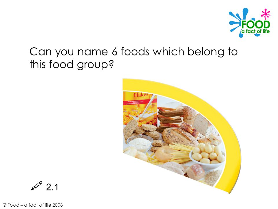 © Food – a fact of life 2008 Can you name 6 foods which belong to this food group  2.1