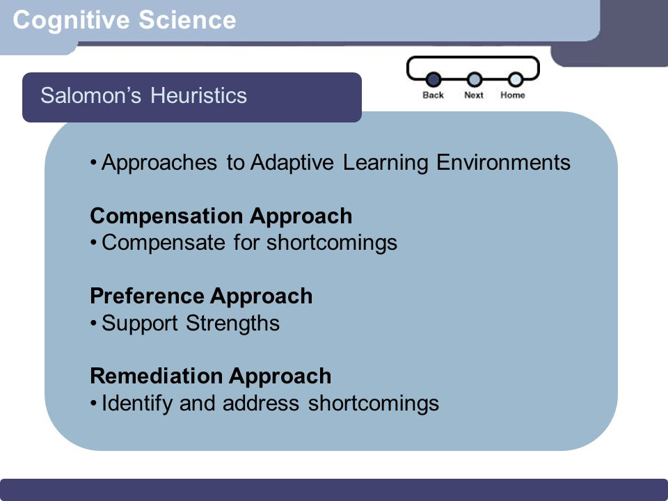 Cognitive Science Approaches to Adaptive Learning Environments Compensation Approach Compensate for shortcomings Preference Approach Support Strengths Remediation Approach Identify and address shortcomings Salomon's Heuristics