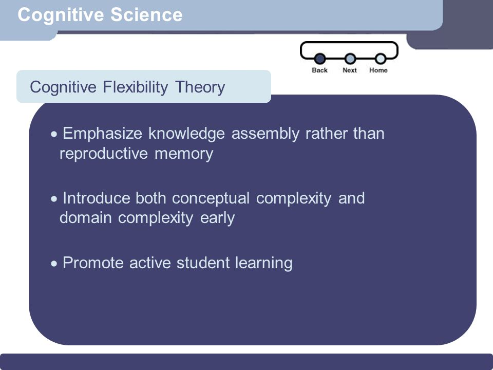 Scenario Cognitive Science Cognitive Flexibility Theory  Emphasize knowledge assembly rather than reproductive memory  Introduce both conceptual complexity and domain complexity early  Promote active student learning