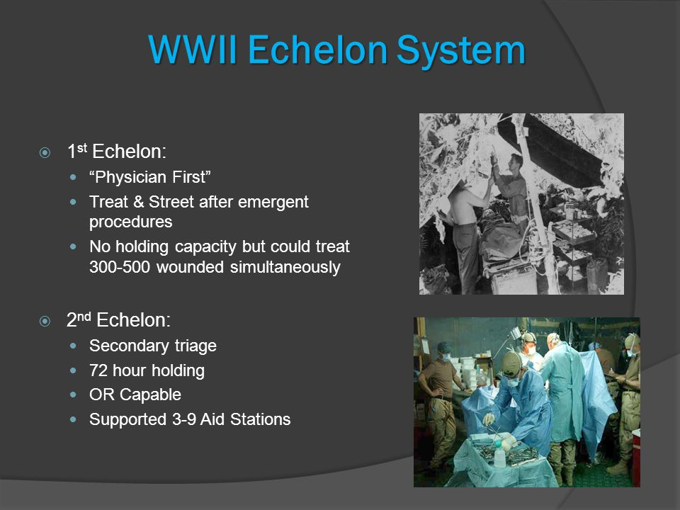 WWII Echelon System  1 st Echelon: Physician First Treat & Street after emergent procedures No holding capacity but could treat wounded simultaneously  2 nd Echelon: Secondary triage 72 hour holding OR Capable Supported 3-9 Aid Stations