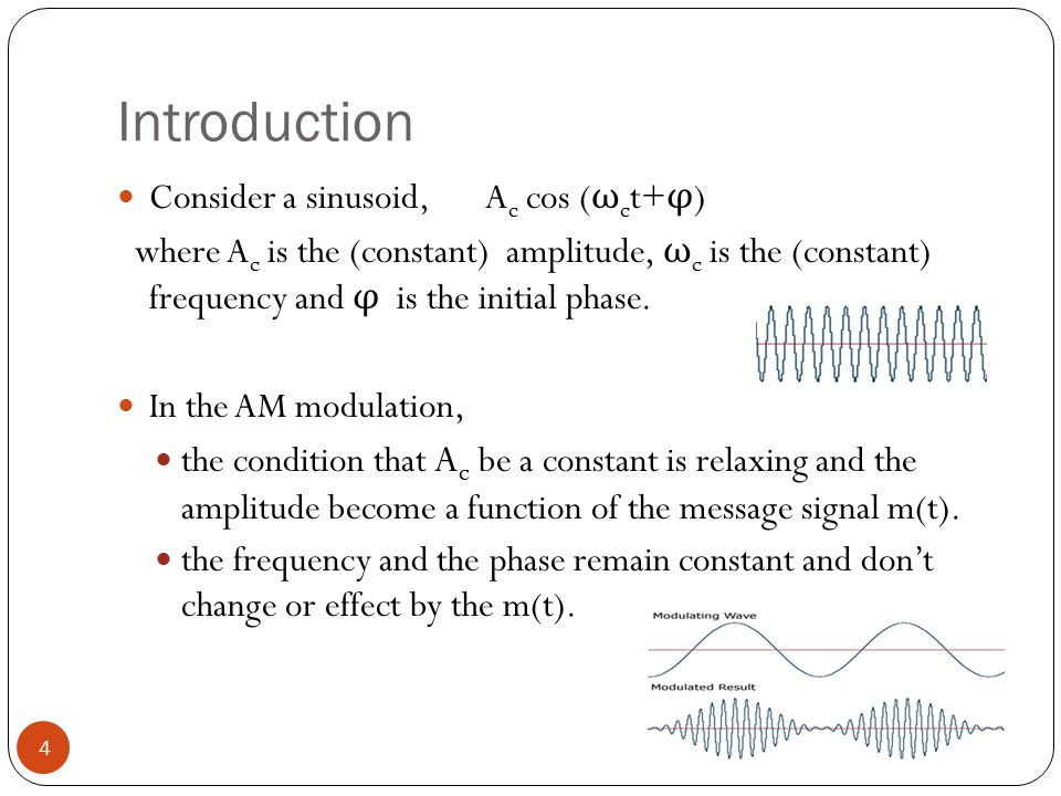 Introduction 4 Consider a sinusoid, A c cos ( ω c t+ φ ) where A c is the (constant) amplitude, ω c is the (constant) frequency and φ is the initial phase.