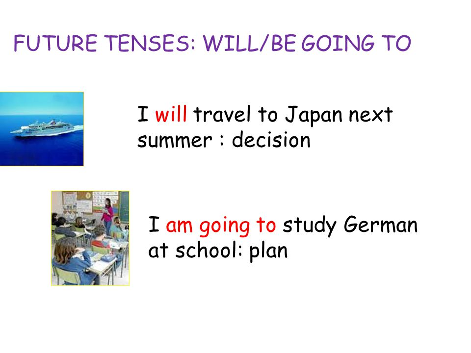 2 Future Tenses Will Be Going To I Travel An Next Summer Decision Am Study German At School Plan