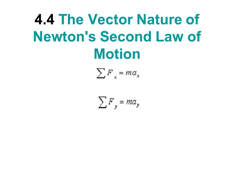 4.4 The Vector Nature of Newton s Second Law of Motion