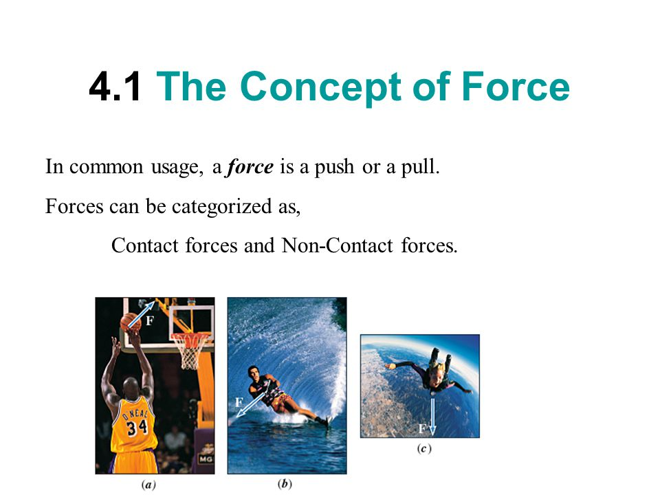 4.1 The Concept of Force In common usage, a force is a push or a pull.