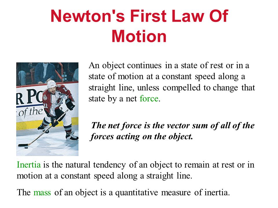 Newton s First Law Of Motion An object continues in a state of rest or in a state of motion at a constant speed along a straight line, unless compelled to change that state by a net force.