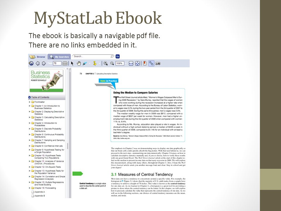 Aplia connect mystatlab or wileyplus which one is right for you 28 mystatlab ebook the ebook is basically a navigable pdf file there are no links embedded in it fandeluxe Image collections