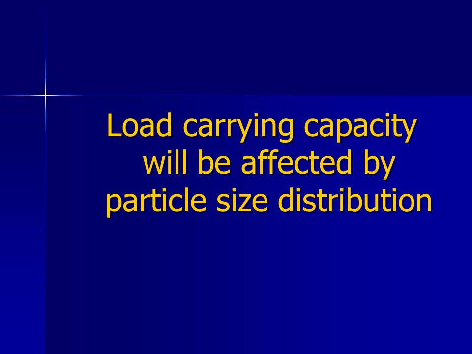 Load carrying capacity will be affected by particle size distribution
