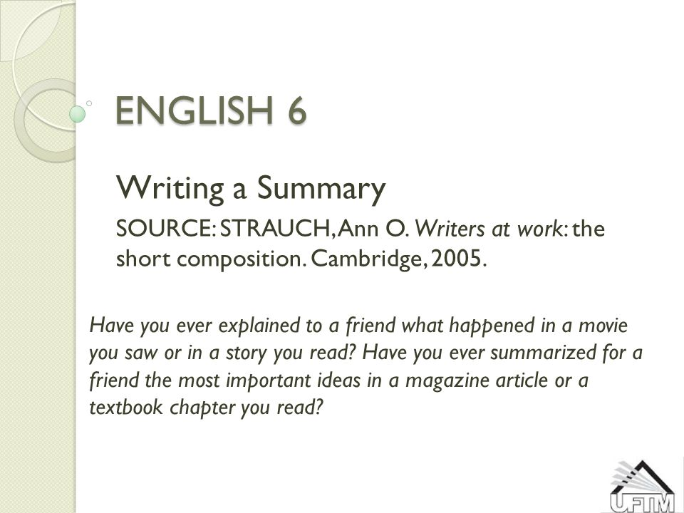 English 6 writing a summary source strauch ann o writers at work 1 english 6 writing a summary thecheapjerseys Images