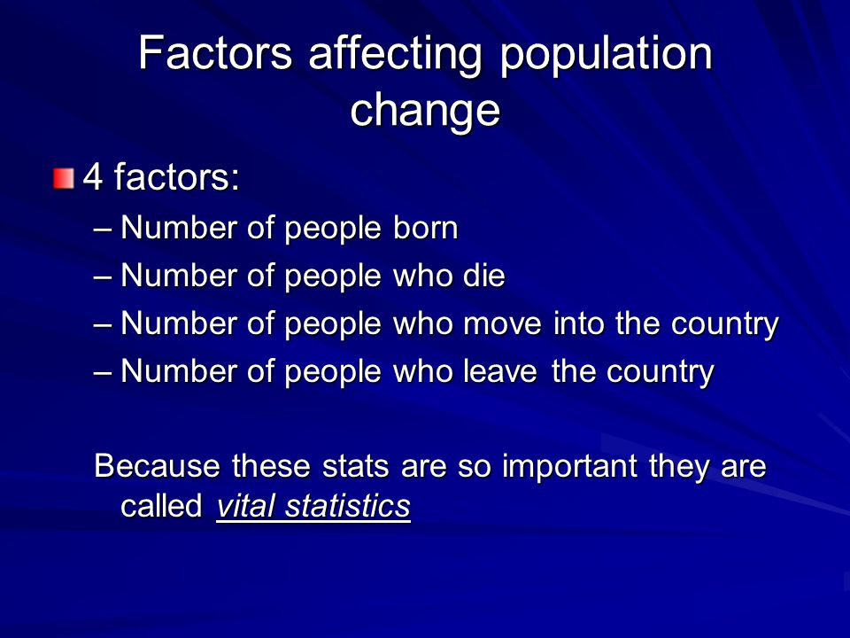 Factors affecting population change 4 factors: –Number of people born –Number of people who die –Number of people who move into the country –Number of people who leave the country Because these stats are so important they are called vital statistics