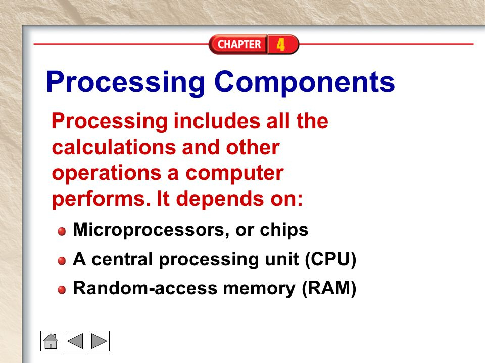 4 Processing Components Processing includes all the calculations and other operations a computer performs.