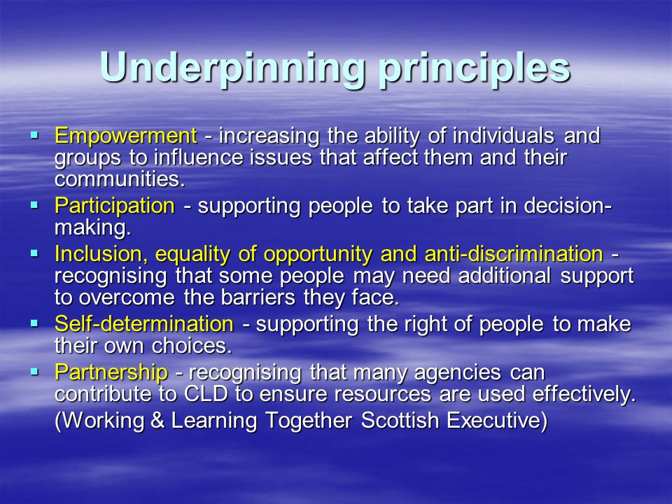 Underpinning principles  Empowerment - increasing the ability of individuals and groups to influence issues that affect them and their communities.