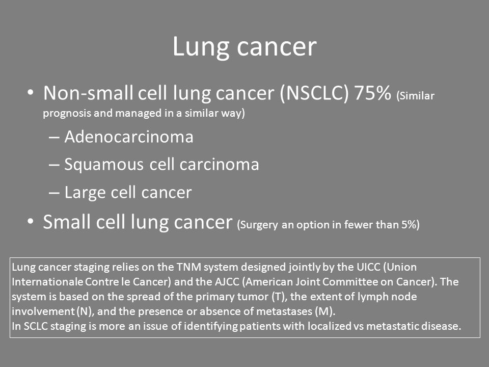 Lung cancer Non-small cell lung cancer (NSCLC) 75% (Similar prognosis and managed in a similar way) – Adenocarcinoma – Squamous cell carcinoma – Large cell cancer Small cell lung cancer (Surgery an option in fewer than 5%) Lung cancer staging relies on the TNM system designed jointly by the UICC (Union Internationale Contre le Cancer) and the AJCC (American Joint Committee on Cancer).