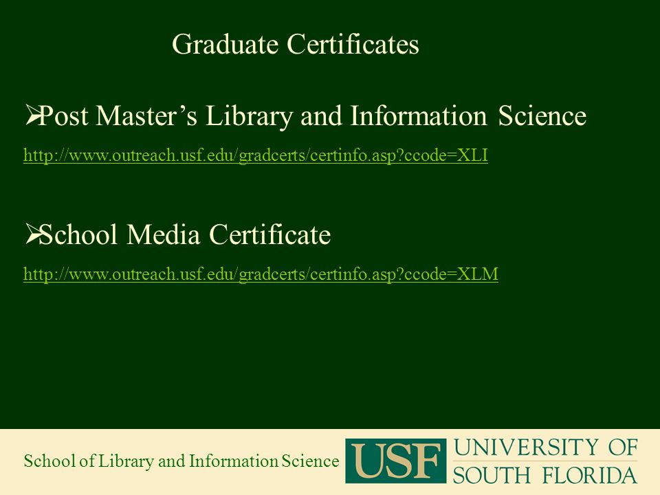 School of Library and Information Science. Graduate School- What\'s ...