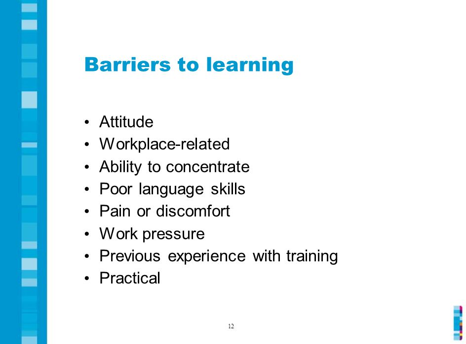 Barriers to learning Attitude Workplace-related Ability to concentrate Poor language skills Pain or discomfort Work pressure Previous experience with training Practical 12