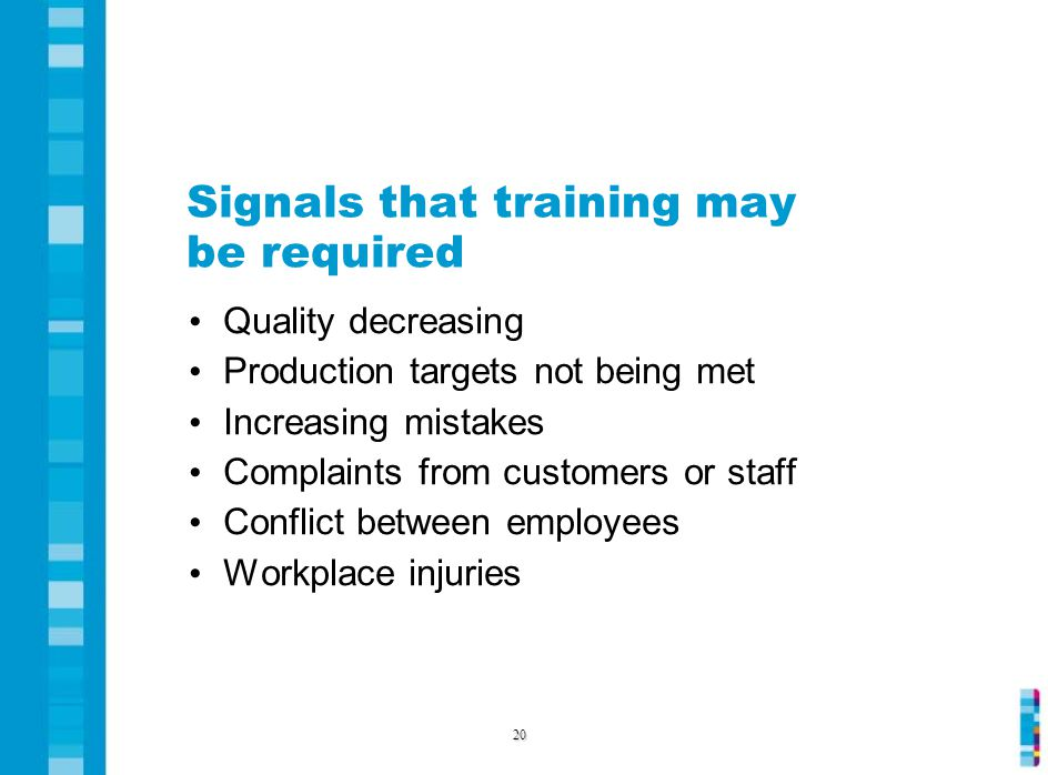 Signals that training may be required Quality decreasing Production targets not being met Increasing mistakes Complaints from customers or staff Conflict between employees Workplace injuries 20