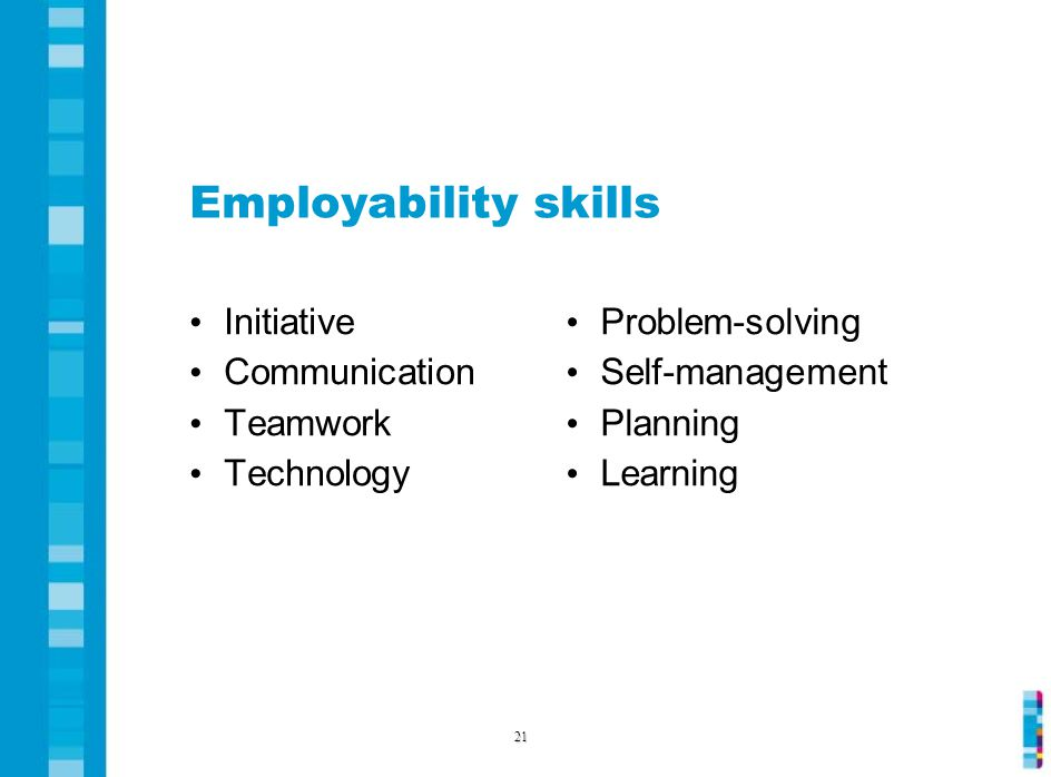 Employability skills Initiative Communication Teamwork Technology Problem-solving Self-management Planning Learning 21