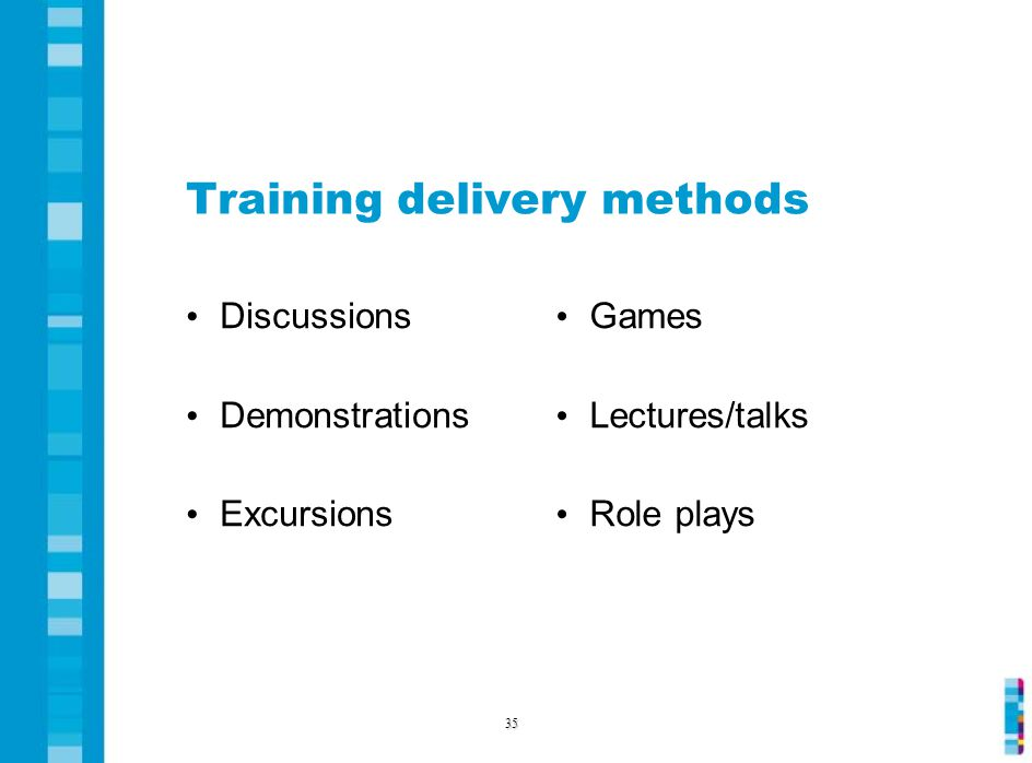Training delivery methods Discussions Demonstrations Excursions Games Lectures/talks Role plays 35